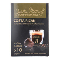 Justin Metcalf Coffee Capsules - Costa Rican 10 x 52G | Capsules Pods | Office Pantry Supplies