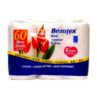 Beautex Towel Rolls - Multi Purpose (More Sheets) - 6 per pack | Paper Products | Office Pantry Supplies