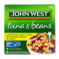 John West Tuna & Beans - Capsicum, Sweet Corn, Red Kidney & Chili 185G | Canned | Office Pantry Supplies