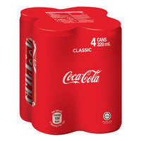 Coca-Cola Can Drink - Original 4 x 320ML | Carbonated | Office Pantry Supplies
