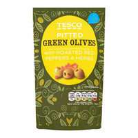 Tesco Pitted Green Olives - with Roasted Red Peppers & Herbs 70G | Dressings and Toppings | Office Pantry Supplies