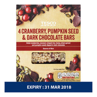 Tesco Cereal Bars - Cranberry, Pumpkin & Dark Chocolate 4 x 35G | Cereal Bars | Office Pantry Supplies