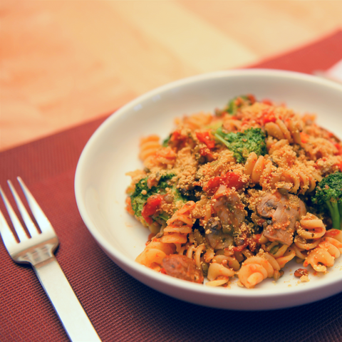 Lentil Bolognese with Rotini and Broccoli