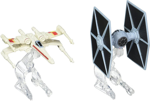 Hot Wheels Star Wars Rogue One Tie Fighter Blue vs. X-Wing Red 2 Wings Vehicle (2 Pack)