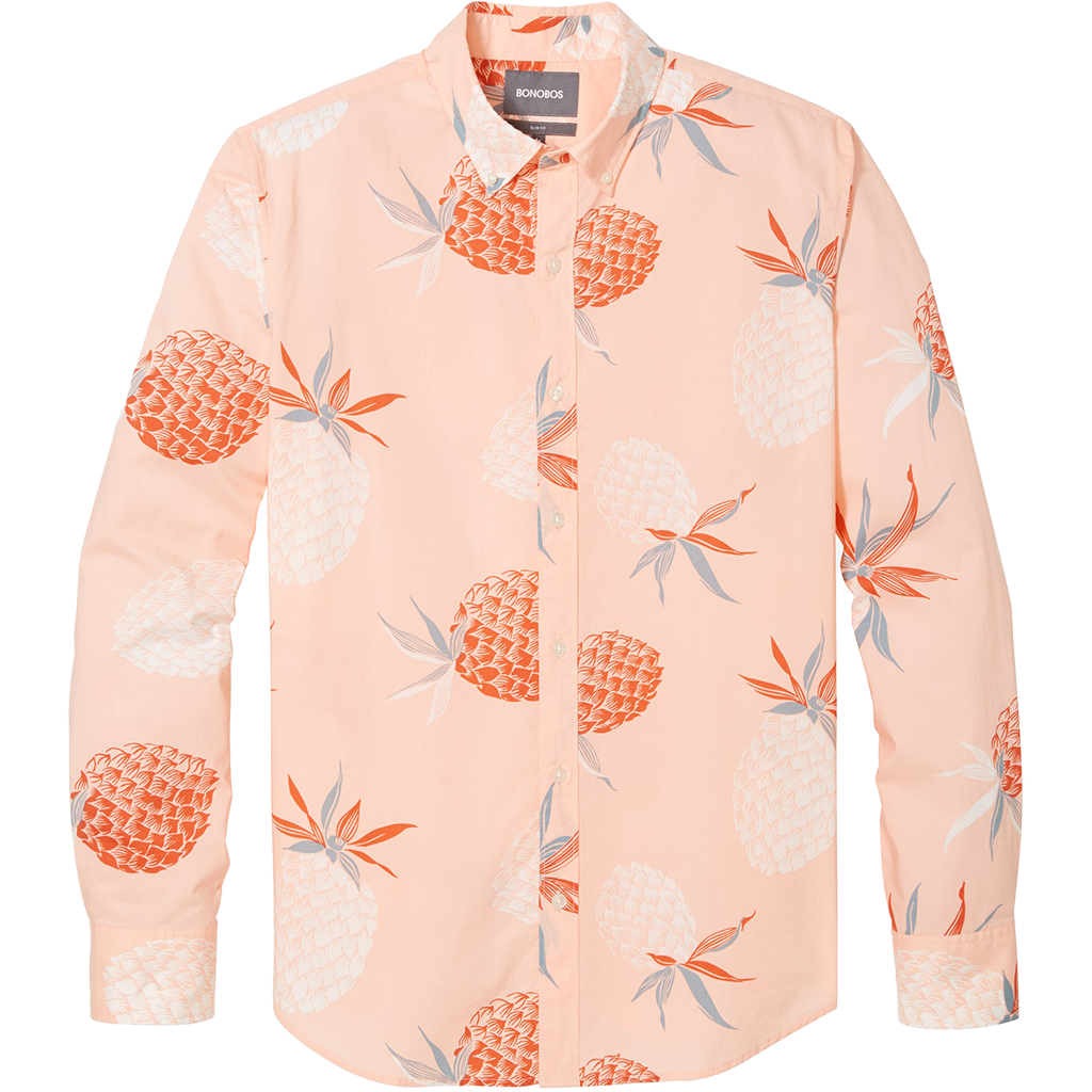 Pinaple Print Orange Shirt