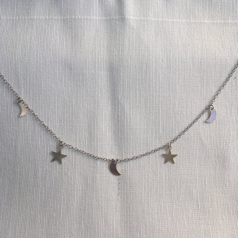 London Manori Moon and Star Charm Necklace