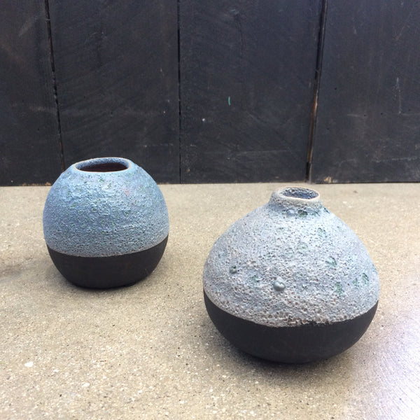 Denim textured bud vases