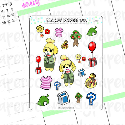 ANIMAL CROSSING ISABELLE STARTER SAMPLER - Hand Drawn Planner Stickers - Deco - AC001