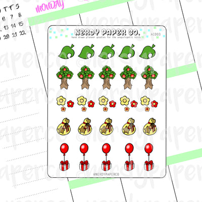 PT 2- ANIMAL CROSSING ICON SHEET - Hand Drawn Planner Stickers - Deco - AC003