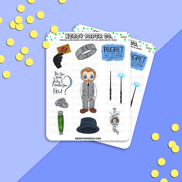 Wise Wizard Sampler - Hand Drawn Wizard Planner Stickers | AD001