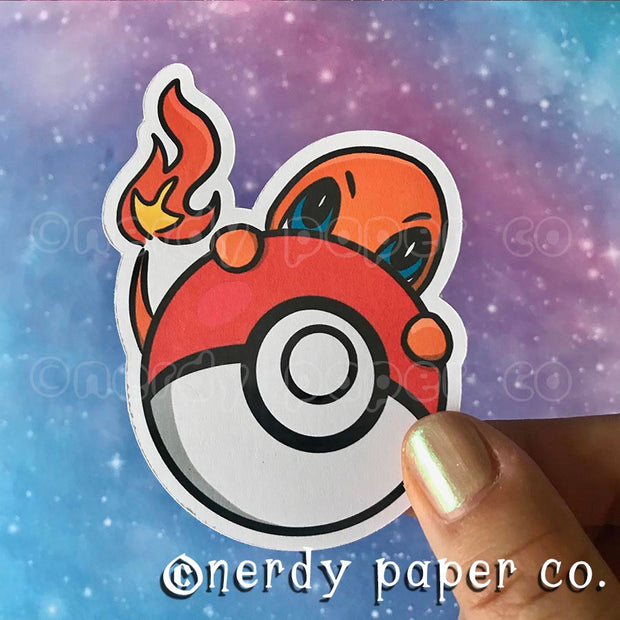 PEEKING CHARMANDER - Hand Drawn Vinyl Sticker