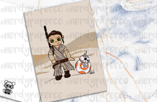 REY + BB-8 IN JAKKU- Hand Drawn Space Planner Dashboard- DB015