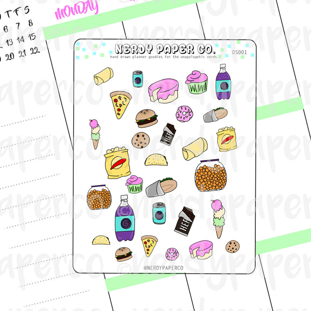 JUNK FOOD - Hand Drawn Planner Stickers- Deco | DS001