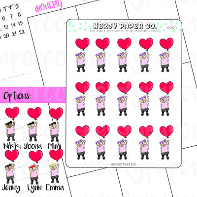 HEART BALLOONS - Hand Drawn Planner Stickers - Deco -DS023