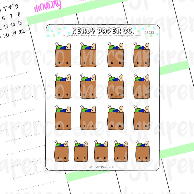 GROCERIES - CUTE GROCERY BAGS / HAND DRAWN PLANNER STICKERS - DS033