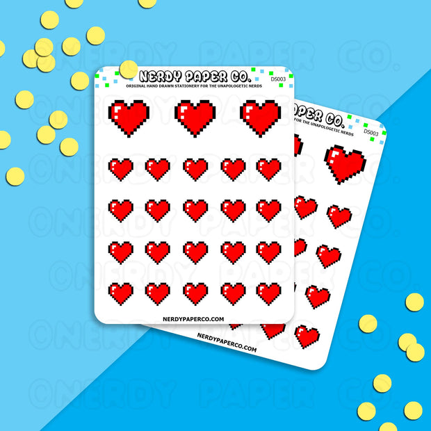 GAMER PIXEL HEARTS - Hand Drawn Planner Stickers - DS003
