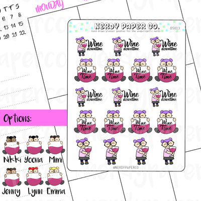 WINE TIME - Hand Drawn Planner Stickers - DS013