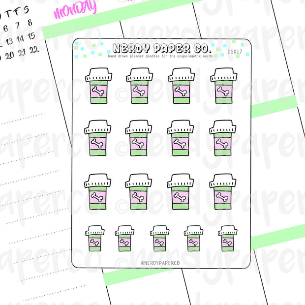 DOG MEDICINE - Hand Drawn Planner Stickers - DS017