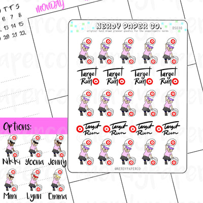 TARGET SHOPPING STICKERS / Hand Drawn Planner Stickers / Deco - DS030