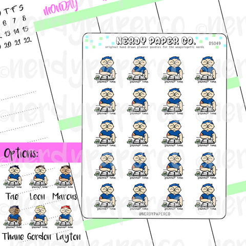 PLANNER TIME BOY- Hand Drawn Planner Stickers- DS049