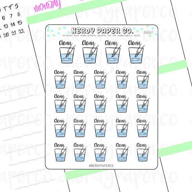 CLEAN YOUR PEN -  Hand Drawn Planner Stickers - Deco - DS057