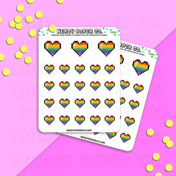PRIDE PIXEL HEARTS - Hand Drawn Planner Stickers Deco | DS062
