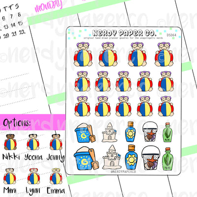 BEACH TIME KAYLA  / Hand Drawn Planner Stickers / Deco - DS064