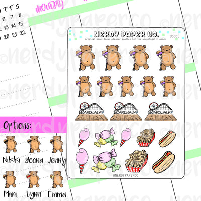 LET'S GO TO THE BOARDWALK KAYLA  / Hand Drawn Planner Stickers / Deco - DS065