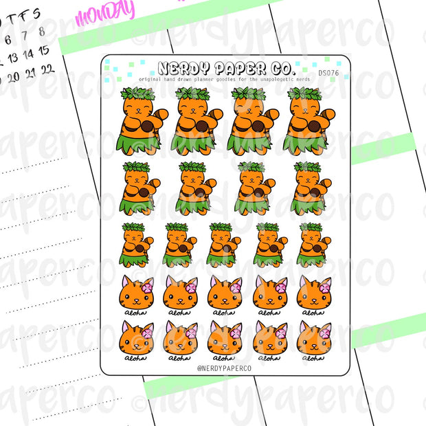 ALOHA SUKI - Hand Drawn Planner Stickers - DS076