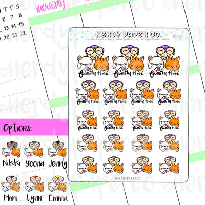 FAMILY TIME - Hand Drawn Planner Stickers - DS079