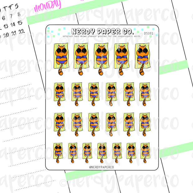 SUKI BEACH TIME- Hand Drawn Planner Stickers - DS081