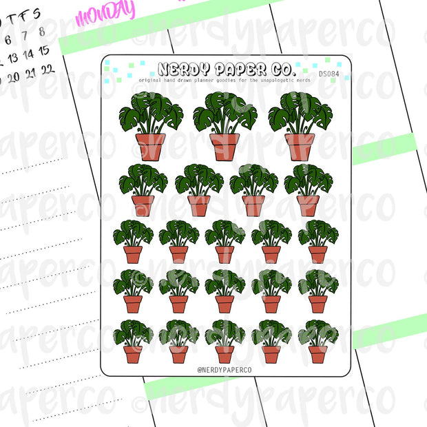 MONSTERA DELICIOSA - Hand Drawn Planner Stickers - Deco -DS084