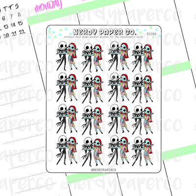 JACK + SALLY - Hand Drawn NIGHTMARE B4 XMAS- Inspired Planner Stickers - Deco - NC001