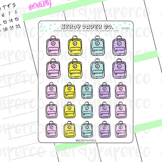 PASTEL BACKPACK  - Hand Drawn Planner Stickers - Deco - DS094