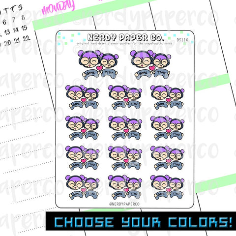 MOMMY + ME (DAUGHTER) GAME TIME - Hand Drawn Planner Stickers - Deco - DS116