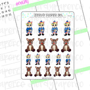 RUDOLPH + HERMEY - Hand Drawn Planner Stickers Deco- DS125