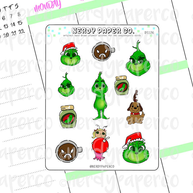 GRINCH SAMPLER - Hand Drawn Planner Stickers Deco- DS126