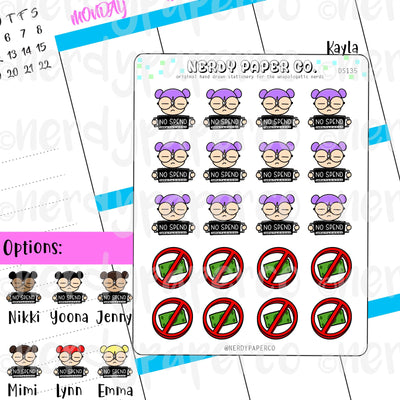 KAYLA NO SPEND / Hand Drawn Planner Stickers / Deco -DS135