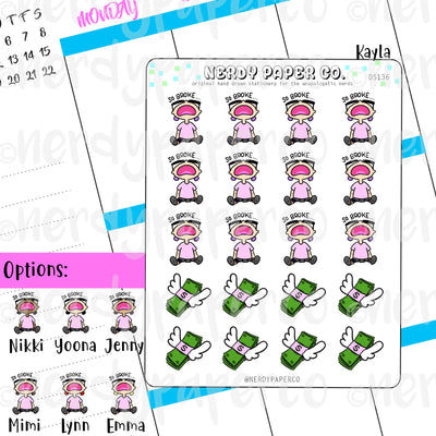 BROKE KAYLA / Hand Drawn Planner Stickers / Deco -DS136