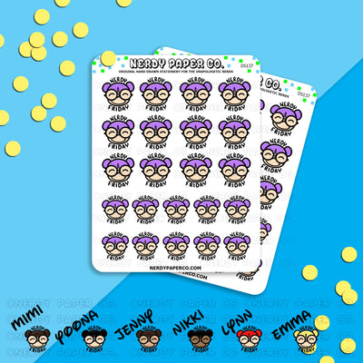 NERDY FRIDAY / Hand Drawn Planner Stickers / Deco -DS137