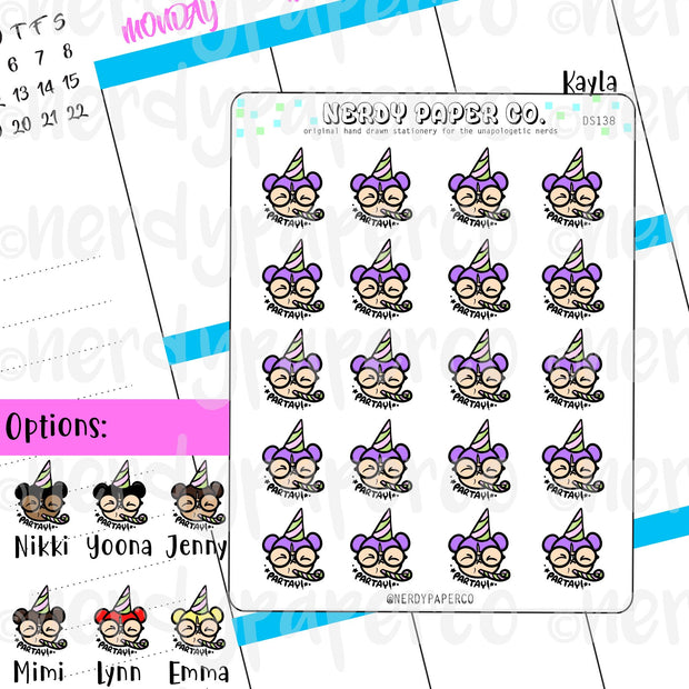 PARTY TIME KAYLA  / Hand Drawn Planner Stickers / Deco -DS138