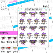 ANGRY WORKING KAYLA / Hand Drawn Planner Stickers / Deco -DS146