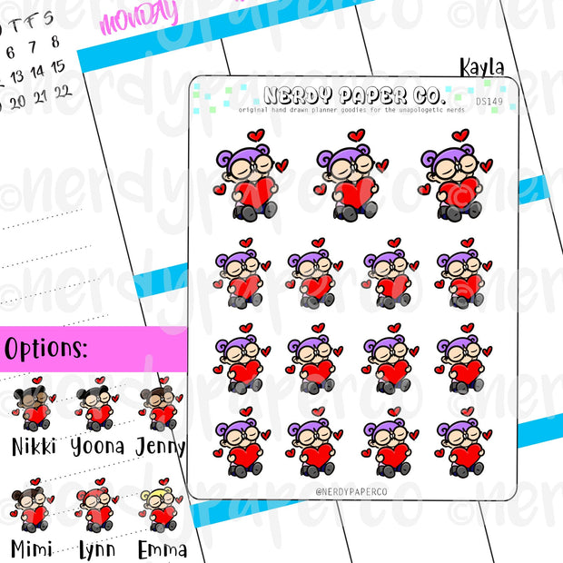 KAYLA VALENTINE - Hand Drawn Planner Stickers / Deco - DS169
