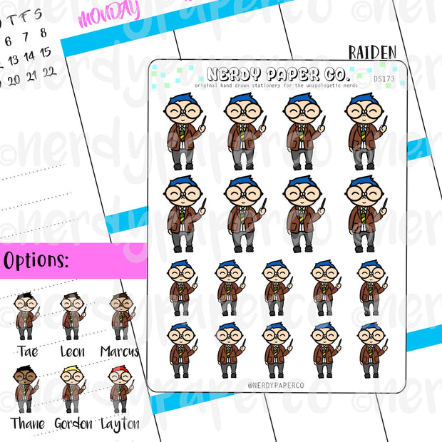 TEACHER RAIDEN / Planner Sticker / Hand drawn stickers | DS173