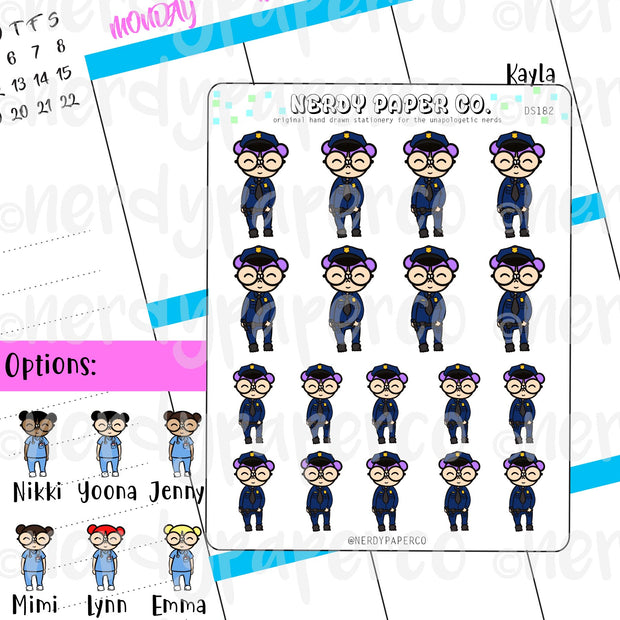 POLICE OFFICER KAYLA / Hand Drawn Planner Stickers / Deco -DS182