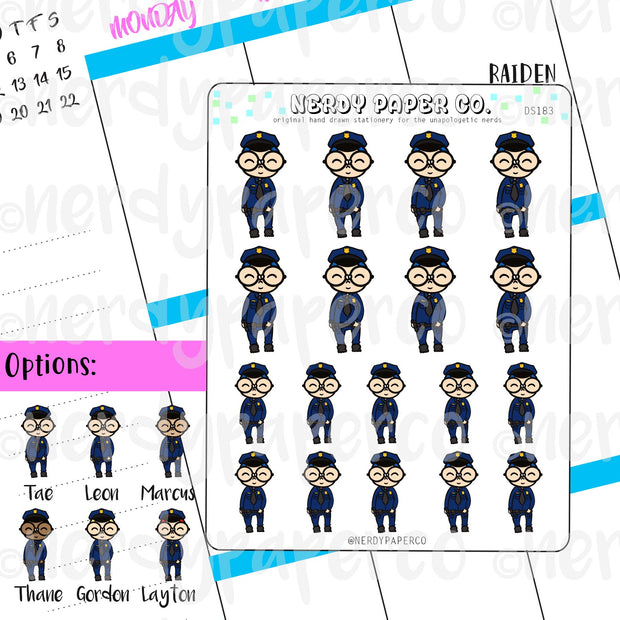 POLICE OFFICER RAIDEN / Planner Sticker / Hand drawn stickers | DS183