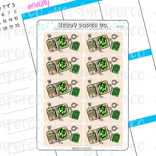 MILITARY DESK FLATLAYS  - Hand Drawn Functional Planner Stickers -DS187