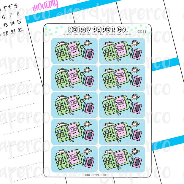 SECRETARY DESK FLATLAYS  - Hand Drawn Functional Planner Stickers -DS188