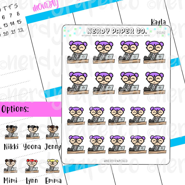 OFFICE KAYLA / Hand Drawn Planner Stickers / Deco -DS192