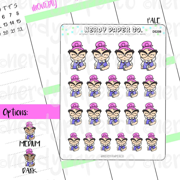 SUZY AND HER IPOD - Hand Drawn Planner Stickers - Deco - DS208
